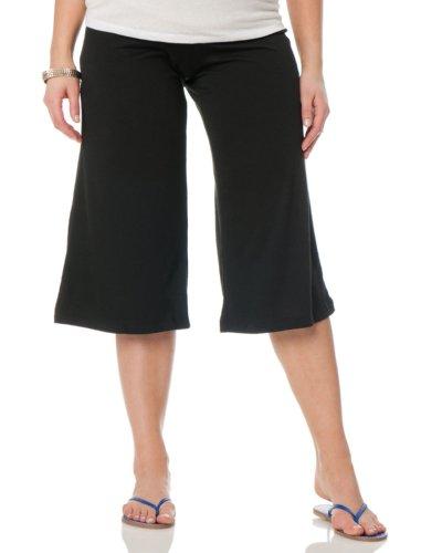 Motherhood Maternity Bump Start Fold Over Belly Jersey Knit Ruched Wide Leg Maternity Gaucho Pants