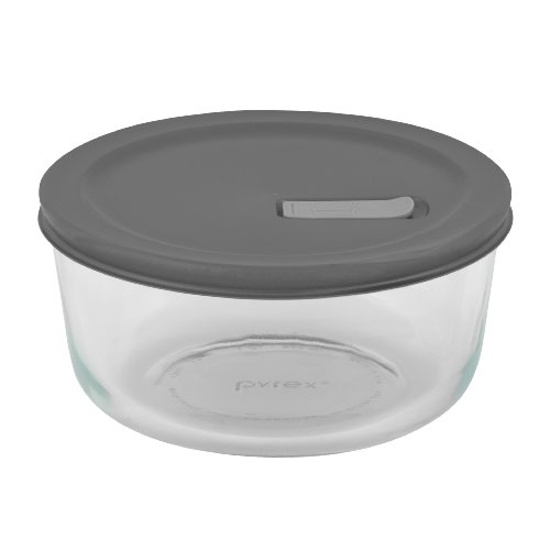 Pyrex No Leak Lids 7 Cup Round Baking Dish with Plastic Lid