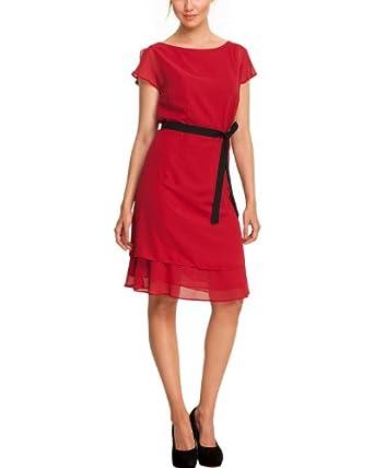 Comma Damen Kleid mit Gürtel (knielang) 89.308.82.2456 KURZ Regular Fit, 36, Rot (3660 red)