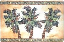 Three Palm Non-skid Floor Mat Utility Rug Home Decor Paradise Tropical