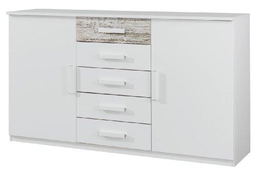 Rauch A9M23.670M Kombikommode Almelo, 5 Schubkästen, 2 Türen, 149 x 86 x 37 cm, Absetzungen Antik weiß, alpinweiß