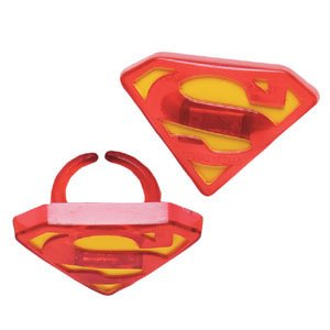 "Why Choose Superman ""S"" Shield Party Cupcake Rings 12 Pack"