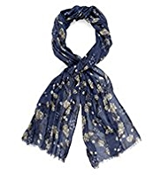 Indigo Collection Lightweight Summer Floral Print Scarf