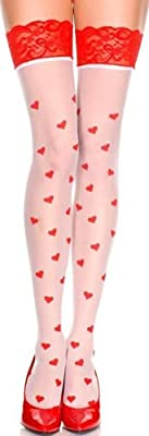 ToBeInStyle Women's Two Toned Hearts Print Wide Top Thigh Hi Stocking