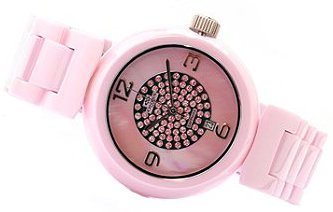Oniss #ON7703-LC Women's Girasol Crystal Accented MOP Dial Pink Ceramic Watch