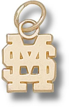 Mississippi State Bulldogs Interlocking MS 3 8 Charm - 10KT Gold Jewelry by Logo Art