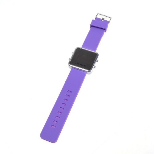 Bestdealusa Purple Led Digital Silicone Mirror Sports Watch