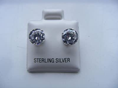 925 Sterling Silver Cubic Zirconia Cz Round 7mm Stud Earrings. Unisex. Brand New & Boxed.
