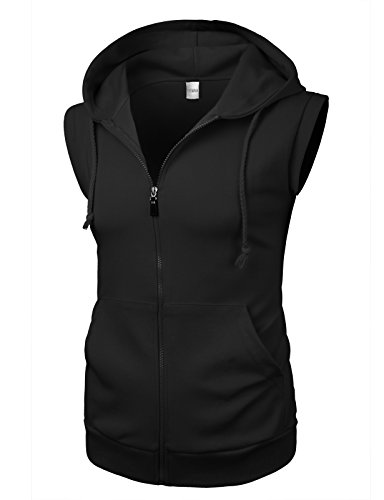 THEMAIN Men's Classic Sporty Zip Up Kangaroo Pockets Hoodie Vest