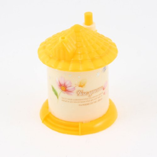 Yellow House Shape Floral Print Automatic Plastic Toothpick Holder Container