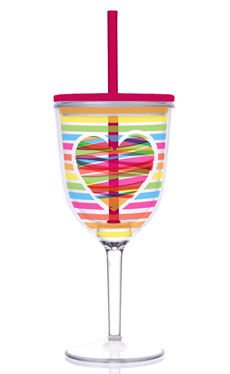 Acrylic Valentine Bright Rainbow Heart Double-Walled 13-oz Wine Glass with Straw