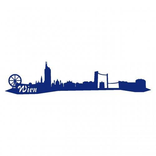 Wandtattoo Wien Skyline Wandaufkleber viele Farben und Größen sofort lieferbar in 8 Größen und 25 Farben (40x9cm königsblau)