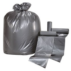 Colonial Bag Super Hex Low Density Trash Can Liners- 40 x 46, 40-45 Gallon, .90 mil, Gray (125 Bags/Case)