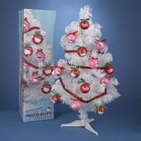 "23"" Hello Kitty Pink and Red Garland Ornaments and White Christmas Tree Set"