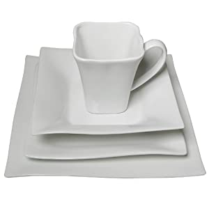 16 Piece Classic White Dinnerware Set, Wave Design