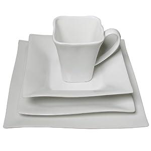 16 Piece Classic White Dinnerware Set, Wave Design