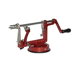 Meglio Apple And Potato Peeler Corer And Slicer, Cast-Iron Body, Suction Base (Red)
