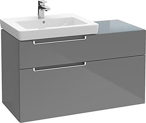 Villeroy & Boch Waschtischunterschrank 2 Auszuege, 1 Accessory Box 9/10, 1 Accessory Box 5/10, 1 Accessory Box 4/10, 2 Glasabtrennungen, 4 Aluminiumstangen, Waschtisch rechts,, 989 x 590 x 454 mm, Z96 Farbe: 26, A9190S