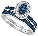 10k White Gold Blue Colored & Natural Diamond Oval-shape Cluster Womens Ladies Unique Bridal Wedding Engagement Ring & Anniversary Band Set - .50 (1/2) Ct.t.w.
