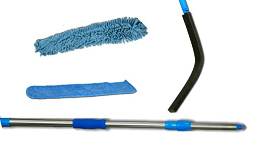 High and low Wet or Dry 2 Microfiber Machine Washable Dusters Cleaners, a Flexible, Bendable and Extendable Wand and a Telescoping 23in - 4ft Sturdy, Lightweight Threaded Extension Pole. The length of the pole plus wand is 6 1/2ft. Add your height and arm length to reach over 12ft.
