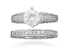 Sterling Silver Rhodium Plated CZ Bands with 7mm Center CZ 2 Ring Set / Size 7
