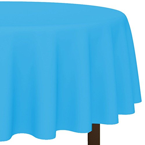 "Amscan Disposable Diameter Round Plastic Table Cover In Fits 7' Round Tables, 84"", Caribbean Blue"