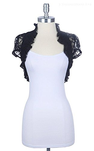 Women's Short Sleeve Lace Smoked Shrug Bolero, Cropped Jacket Short Cardigan (Small, Black)