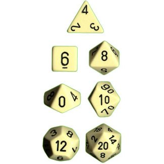 Chessex Dice: Polyhedral 7-Die Opaque Dice Set - Ivory with Black