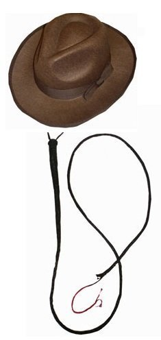 Indian Jones Fedora Hat and Whip Set