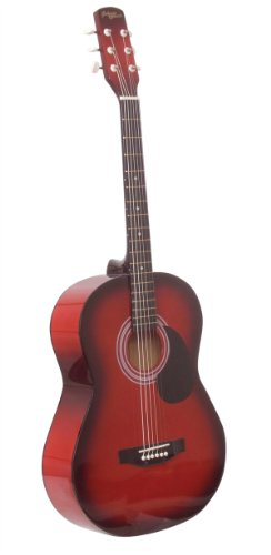 Johnny Brook Full Size Acoustic Guitar Transparent Red, Natural