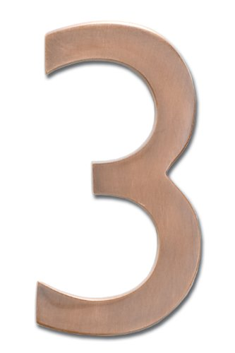 Architectural Mailboxes 3585AC-3  Brass 5-Inch Floating House Number 3, Antique Copper (House Numbers Copper compare prices)