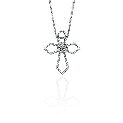 10K White Gold 0.04 ct. Diamond Cross Pendant with Chain
