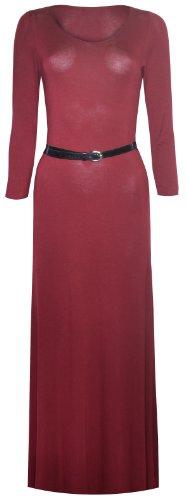 Womens Plain Long Sleeved Belted Maxi Dress (8/10 (Uk 12/14), Wine)