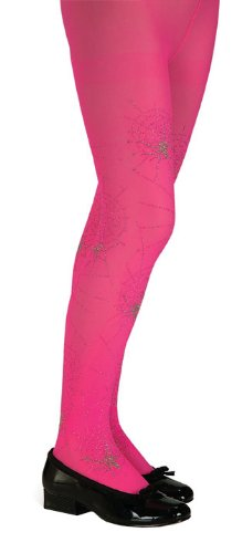 Girls Pink Glitter Spider Tights - Child Large