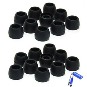 Bluecell 10 Pairs Small Black Color Silicone Replacement Ear Buds Tips For Audio-Technica Skullcandy Monster Sony Ultimate Ears Sharp Sennheiser Plantronics Tdk Phillips Panasonic Denon Griffin Jvc