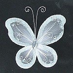 "24 White Organza Nylon Wire Butterfly Wedding Arts and Crafts Decorations 2"" Big"