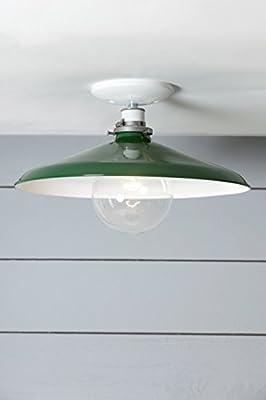 14in Green Metal Shade Ceiling Light - Barn Light