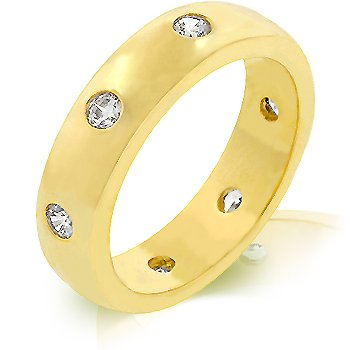 14K Gold Bonded Designer inspired Eternity Ring with Bezel Set Round Cut Clear CZ in Goldtone