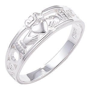 Sterling Silver Claddagh Band - Size O