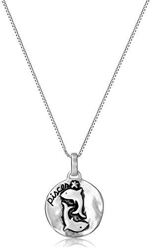 "Sterling Silver Zodiac Sign, Pisces Reversible Pendant Necklace, 18"""