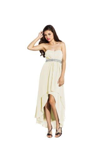Strapless High-Low Prom Bridesmaid Dress Braid Trim, Xs, Ivory