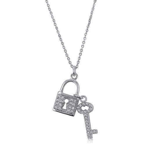 Sterling Silver CZ Accent Lock and Key Pendant Necklace