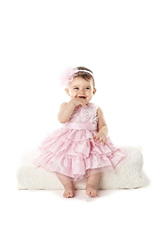 Mud Pie Baby-Girls Newborn Rosette Layered Dress 3T Pink (Mud Pie Easter 3t compare prices)