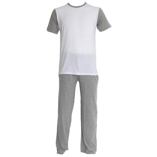 Mens Plain Short Sleeve Top & Long Trouser Nightwear/Pyjama Set (M Chest: 38-40inch ; Waist 32-34inch) (White/Grey)
