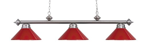 Landmark 167-SN-RED Casual Traditions 3-Light Billiard Light, 13-Inch, Satin Nickel with Red Metal Shades