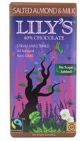 Lily's Sweets 40% Chocolate Bar Salted Almond and Milk (Case of 12) 3 Ounces