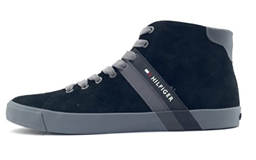 Tommy Hilfiger Volley 6B scarpa uomo stringata sneaker alta in camoscio nero (43)