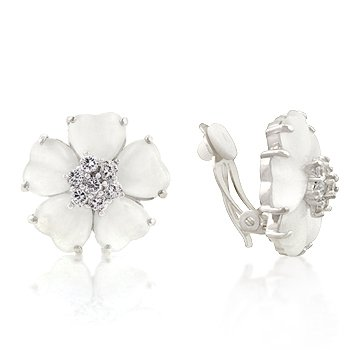 White Gold Rhodium Bonded Flower Clip Earrings with White Cats Eye and Clear CZ Accents