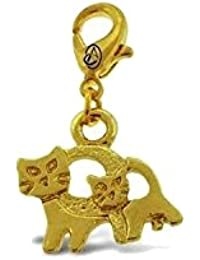 Addicting Charms Mother And Baby Cat Charm In Yellow Gold Color For Bracelet Or Pendant Necklace With Lobster...