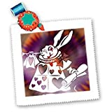 Magical White Rabbit - Cartoon Characters - Alice in Wonderland Fun - 10x10 Quilt Square